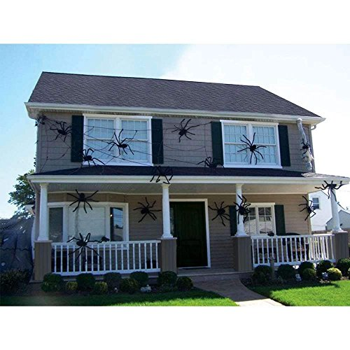 Bulges 90/75/60/50/30cm Fake Giant Spider Halloween Decorations Black - Outdoor Yard Haunted House Party Decor Supplies