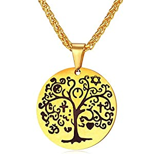 U7 Round Medal Wheat Chain Steel/18K Gold Tone Tree Of Life Pendant Necklace