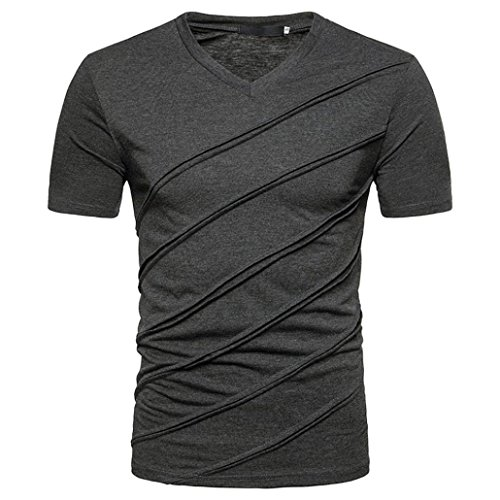 Price comparison product image Forthery Mens 2018 Fashion Casual Short Sleeve Slim Crew Neck Tee Pullover T Shirts (Dark Gray,  US M = Asia L)
