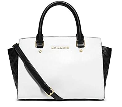 7f84805f4f7ed1 Michael Kors Selma Medium Color Block Satchel Optic White Black Quilted  Leather Bag: Handbags: Amazon.com