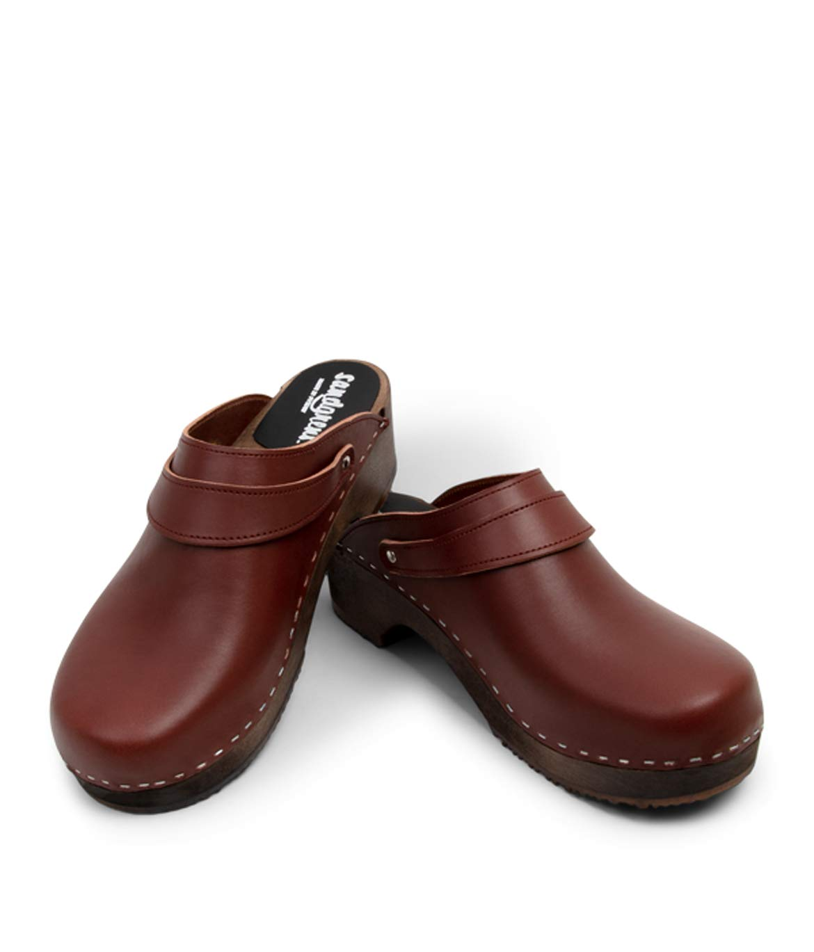 Sandgrens Swedish Wooden Clogs for Men with Leather Upper | Nybro (Dark Base) Cognac, EU 44 by Sandgrens (Image #2)