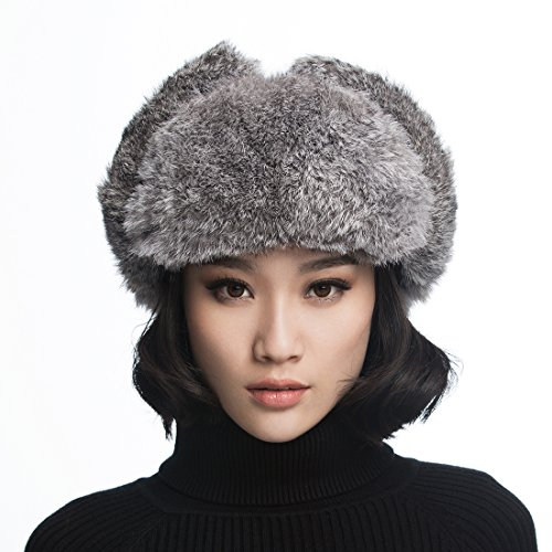 URSFUR Aviator Hat with Grey Rabbit Fur