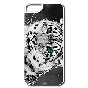 IPhone 5/5S Cases, Snow Blue Eye Leopard Cases For IPhone 5 5S - White Hard Plastic