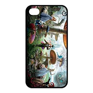 4s Case, iPhone 4 4s Case - Fashion Style New Alice in Wonderland Painted Pattern TPU Soft Cover Case for iPhone 4/4s(Black/white)