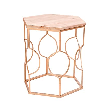 Genial Amazon.com: Wrought Iron Side Table/End Table, Creative Hexagonal Desktop,  Used In Modern Living Room Sofa, Gold, Large And Small Optional: Kitchen U0026  Dining