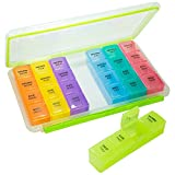 GMS 4X/Day Gasketed 7-Day Pill Organizer Tray with Daily Removable Multi-Colored Pill Boxes
