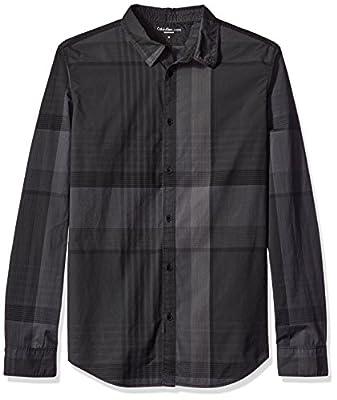 Calvin Klein Jeans Men's Exploded Autumn Plaid Long Sleeve Button Down Shirt