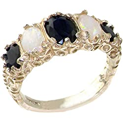 14k White Gold Natural Sapphire and Opal Womens Band Ring - Sizes 4 to 12 Available