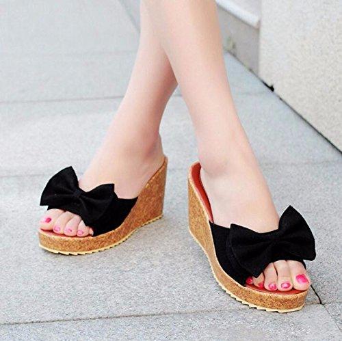 Ajunr Moda/elegante/Transpirable/Sandalias Ajunr Moda/elegante/Transpirable/Sandalias Verano nuevo dulce Bow el tipo de palabra señora zapato de plataforma impermeable pendiente de 8 cm de tacon alto black
