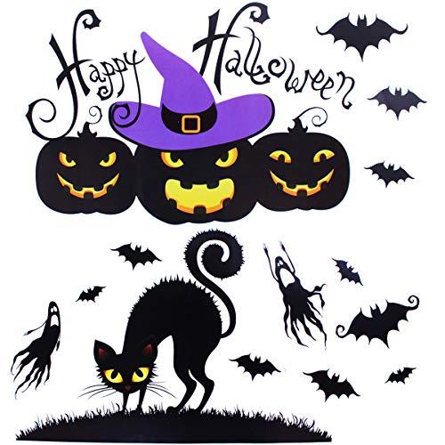 XONOR Halloween Window Clings - Happy Halloween Pumpkin Bat Black Cat Window Decals Party Decorations(#001)