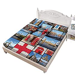 Queen Size Fitted Sheet,England City Red Telephone Booth Clock Tower Bridge River British Flag with Flowers Bed Cover with All-Round Elastic Deep Pocket for Oversized Mattress,Blue Red