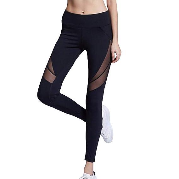 MEIbax Leggings Deportes Pantalones para mujeres color sólido de Sexy Hueco  de Moda Empalme Skinny Casual 79584d4a287a