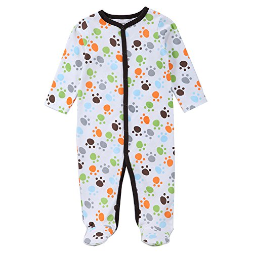 Dog Print Pajama - Fairy Baby Unisex Baby Long Sleeve Footies Cartoon Print Coveralls,3-6M,Dog Paw