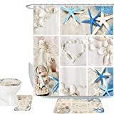 Bathroom Shower Curtains and Accessories Amagical Blue Starfish Seashell Conch 16 Piece Shower Curtain Bathroom Mat Set Wishing Bottle Love Stone Design Bath Mat + Contour Mat + Toilet Cover + Shower Curtain + 12 Hooks