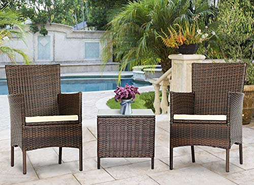 Solaura Outdoor 3-Piece Furniture Brown Wicker Bistro Set Conversation Chairs & Glass-top Coffee Table Set with Light Brown Cushions ()