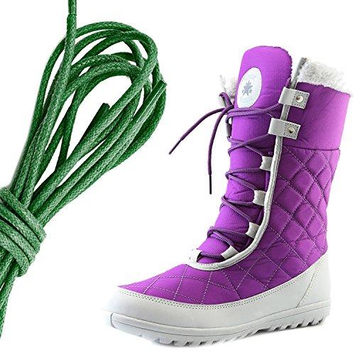 DailyShoes Womens Comfort Round Toe Mid Calf Flat Ankle High Eskimo Winter Fur Snow Boots, Dark Green Purple