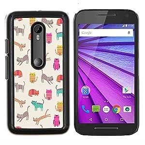 Stuss Case / Funda Carcasa protectora - Gatitos Gatos trullo Historieta rosada del Patrón - Motorola MOTO G3 ( 3nd Generation )