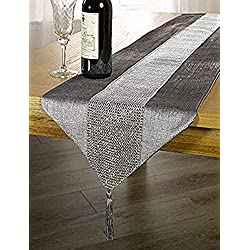 OZXCHIXU(TM 13inch x 72inch Table Runner with Diamante Strip and Tassels (Grey)