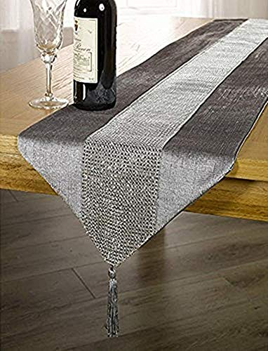 OZXCHIXU(TM 13inch x 72inch Table Runner with Diamante Strip and Tassels (Grey) - 100% Polyester. Coloured table runner with diamante strip. Tassel detail on each end. - table-runners, kitchen-dining-room-table-linens, kitchen-dining-room - 51GEDsjVV1L -
