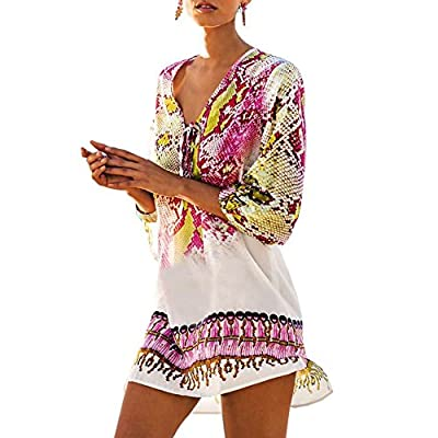 Saherewanr Women Pool Swimwear Beach-Suit Bikini Cover ups Sarong Bohemia Tassel Kimono Boho Gown Dress