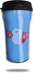 CZJAHBL Cute Catbug Blue Travel Coffee Mug Delicate Printing Portable Vacuum Cup,Food Grade ABS Insulated Cup Anti-Spill(8.8 OZ)