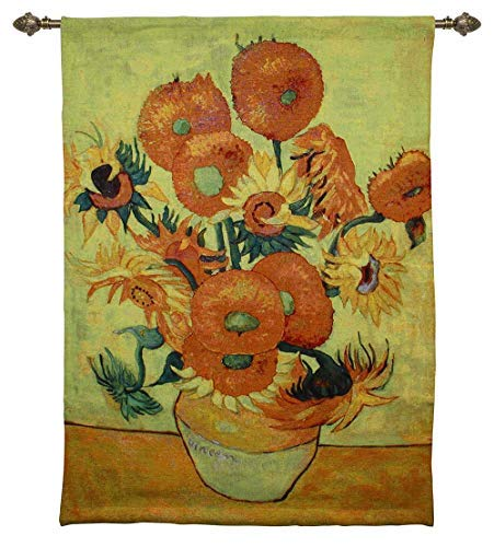 Signare Vincent Van Gogh Sunflowers Wall Hanging, Wall Art, Artwork, Throw Rug, 37 x 55 inches, Floral Animal Fabrics Interior Design (WH-VG-SF)