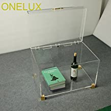 ONELUX Clear Acrylic Storage Chest Table,Lucite Trunk Tables With Metal Decoration-60W 40D 42H CM