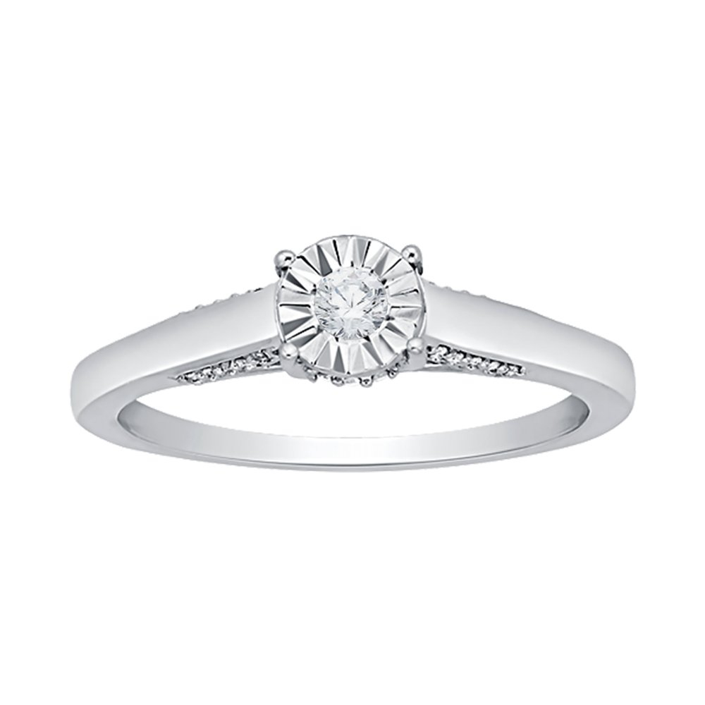 Diamond Engagement Ring in Sterling Silver (1/6 cttw) (GH Color, I2-I3 Clarity) (Size-13)