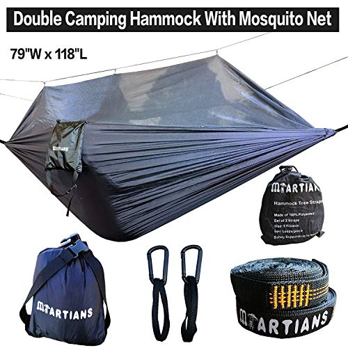 Martians Camping Hammock with Mosquito Net Ultralight Foldable Double Hammock with 28 Loop Tree Straps 118 x 79 Capacity 660LBS for Outdoor Travel Indoor Hiking Backpacking