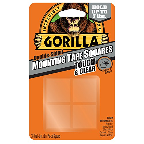 "UPC 052427606723, Gorilla 6067201 Mounting Tape Squares, 1"" Pre-Cut, Clear (24 squares)"