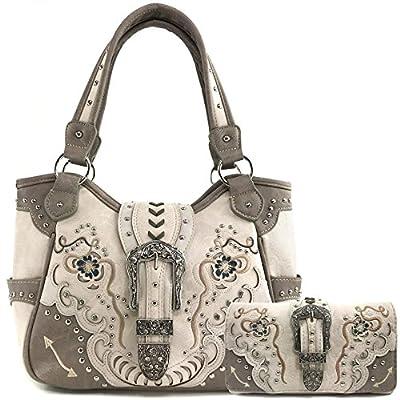 Justin West Buckle Floral Embroidered Studded CCW Concealed Carry Shoulder Purse Handbag