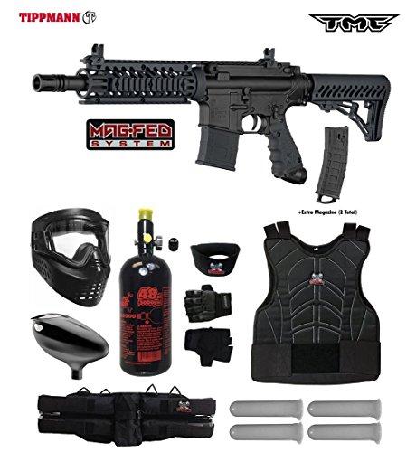 Tippmann TMC MAGFED Starter Protective HPA Paintball Gun Package - Black/Black