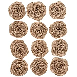 Genie Crafts 12-Pack Burlap 2-Inch Rose Flower Heads for DIY Crafts and Rustic Wedding Decor 62