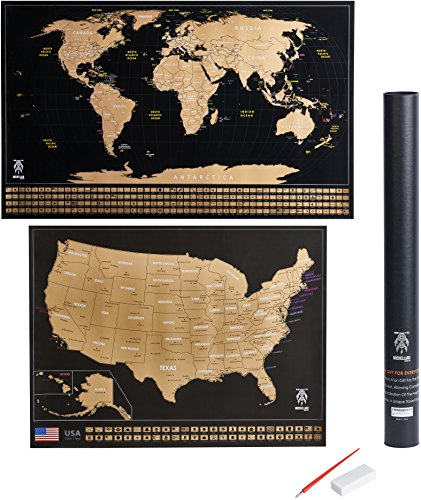 Large Scratch Off World Map Poster 32.5 x 23