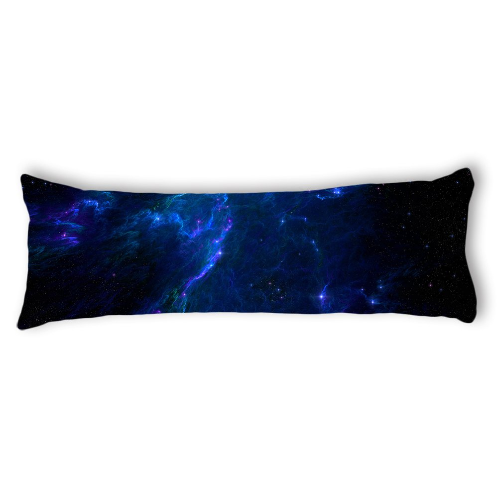 Ailovyo Space Nebula Universe Pattern Retro Galaxy Tribal Machine Washable Silky Shiny Satin Decorative Body Pillow Case Cover, 20-inch x 54-inch galaxyXK-109