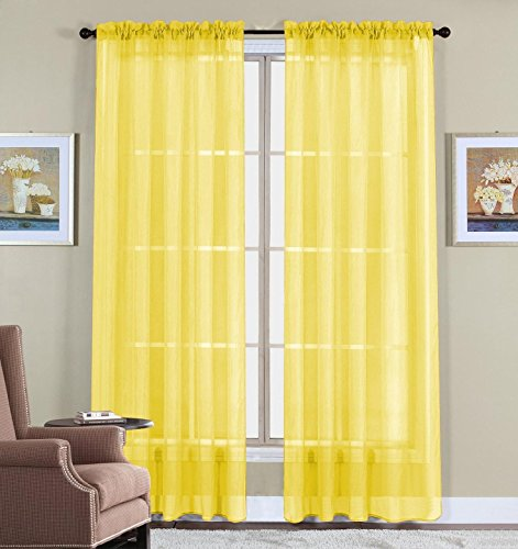 WPM 2 Piece Beautiful Sheer Window Elegance Curtains drape panels treatment 60 w X 84 l Bright Yellow