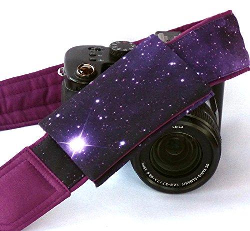 Galaxy Camera Strap with lens pocket. DSLR Camera Strap. Space Camera Strap. Purple Padded Camera Strap. Camera Accessories; 217