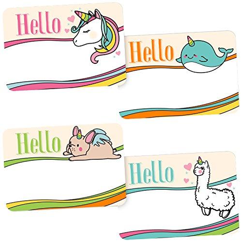 Avery Magical Rainbow Animal Name Tags, Unicorn, Llamacorn