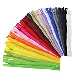 Zilong 100Pcs Nylon Coil Zippers Bulk Tailor Sewer Crafts 7.8 Inch (20 Colors)
