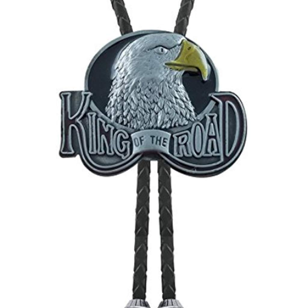 King of the Road Proud Eagle Bolo Tie Native American Cast Belt Leather Neck Whip (Silver)