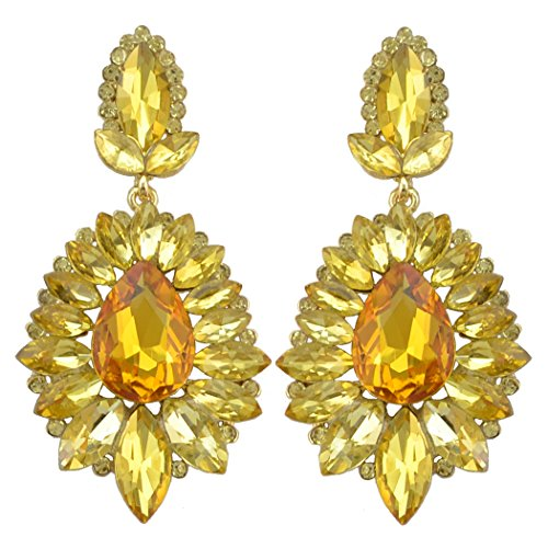 - idealway 5 Colors Luxury Drop Earring Inlay Crystal Rhinestone Dangle Long Earrings For Women Jewelry (Yellow)