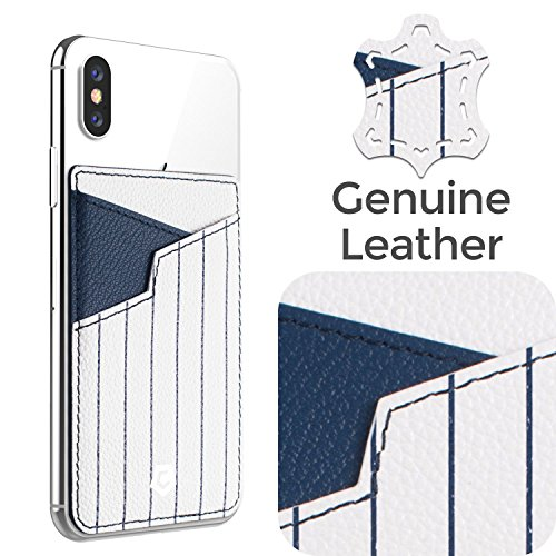 Cobble Pro Self Adhesive Genuine Leather Stick On Credit Card Phone Holder Wallet Case, Sports Teams Fans Lover Sleeve Pocket Compatible with iPhone Xs Max/XS/XR/X/8 Plus & More, White Blue Stripped