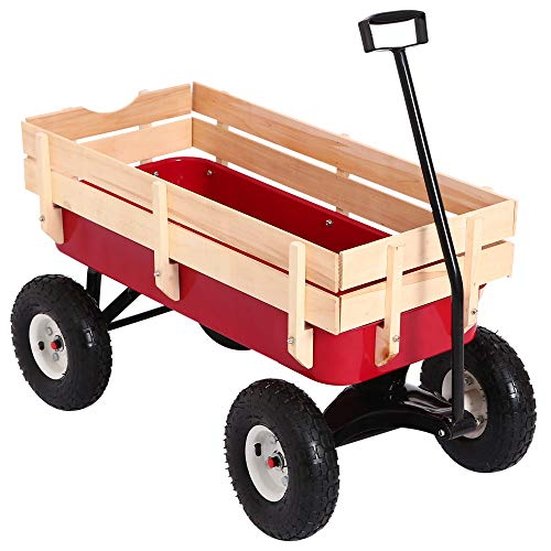 DURHAND Outdoor All Terrain Wagon Garden Pulling Cargo Cart w/Wood Railing by DURHAND