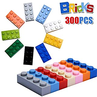 Building Blocks 300 Pieces Mixed Colors,Toy bricks Tight Fit and Compatible with Major Brands, Bulk Building Block Accessories, Basic Building bricks, Educational Building Toys Set for Ages 6 and Up