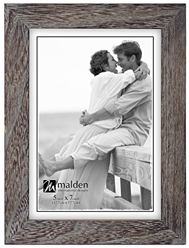 Malden International Designs Linear Rustic Wood Picture Frame, 5x7, Rough Gray (Rustic Picture Frames 5x7 compare prices)