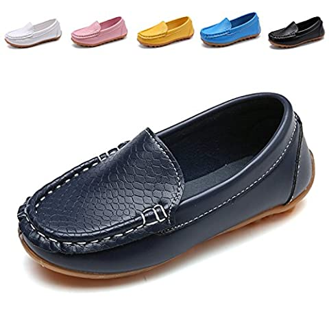 L-RUN Boy's Girl's Leather Loafers and Slip-On Boat-Dress Shoes/Sneakers Navy 2 M US Little Kid - 2 Leather Casual Shoe