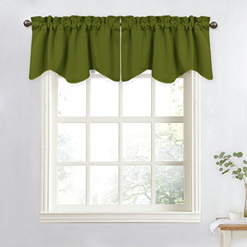 NICETOWN Blackout Curtain for Boy's Room - 52-inch by 18-inch Solid Scalloped Valance for Window (Olive Green, 1 Panel) (Olive Kids Curtains)