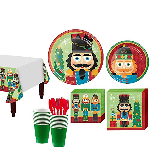Party City Nutcracker Tableware Kit for 16 Guests, Christmas Party Supplies, Includes Table Cover