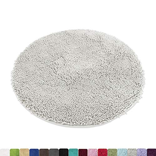 MAYSHINE Round Bath Mat Non-Slip Chenille 3ft Shaggy Bathroom Rugs Extra Soft and Absorbent Perfect Plush Carpet for Living Room Bedroom, Machine Wash/Dry-Light Gray