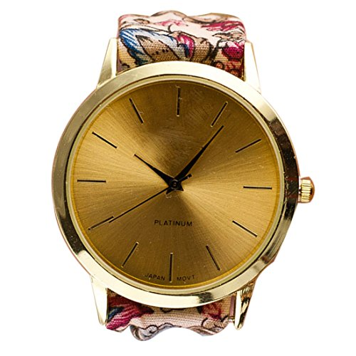 DDLBiz Womens Casual Glorious Golden Flower Allover Cloth Band Wrist Watch(Color A)